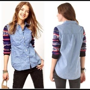 Free People Chambray FairIsle Sweater Sleeve Shirt